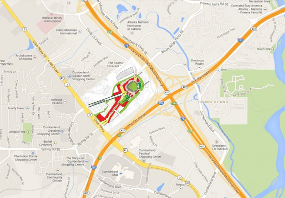 Sketch of the proposed Braves development placed in a Google Maps context