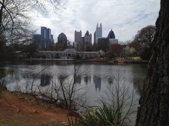 Atlanta skyline as seen from Piedmont Park over a pond