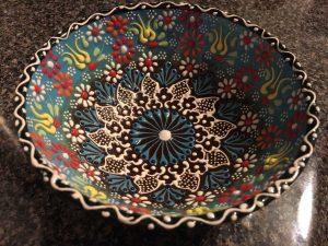 handmade bowl I bought at Atlanta Greek Festival