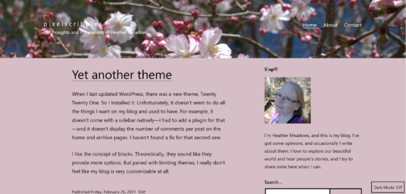 Screenshot of a blog with a cherry blossom header and a sidebar on the right, with a light pink background