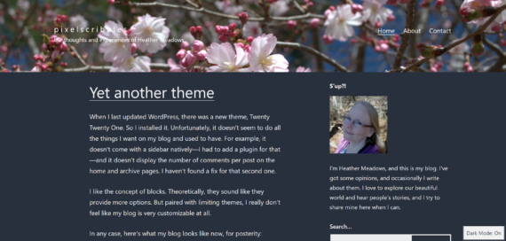 Screenshot of a blog with a cherry blossom header and a sidebar on the right, with a dark background and light text